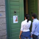 At the door of the Scuola Musicale Santa Cecilia in Bergamo.
